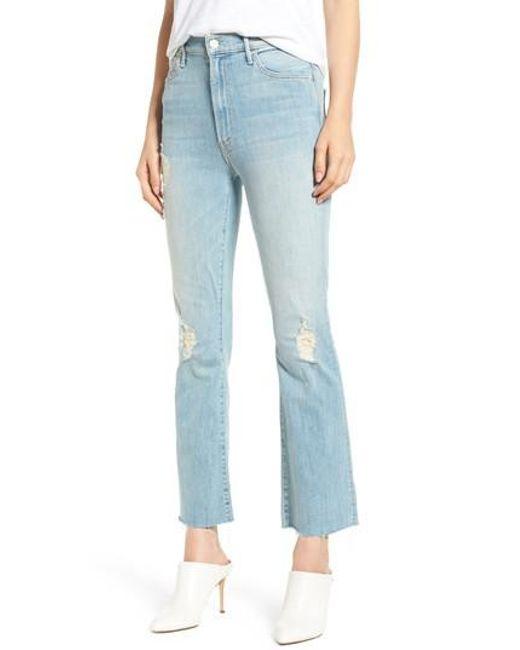 Mother - Blue The Hustler Frayed Ankle Jeans - Lyst