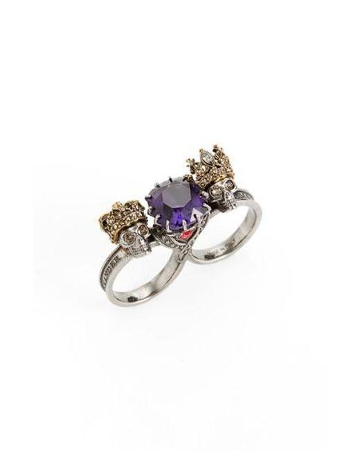 Alexander McQueen | Metallic Jewel Double Ring | Lyst