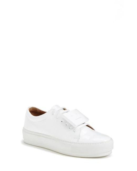Acne   White 'adriana' Leather Sneaker   Lyst