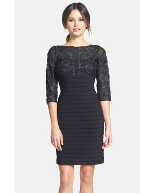 Adrianna Papell   Black Soutache Shutter Pleat Sheath Dress   Lyst