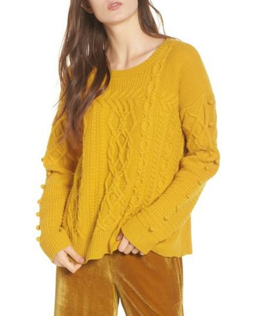 Madewell Open Side Bobble Pullover Sweater in Yellow | Lyst