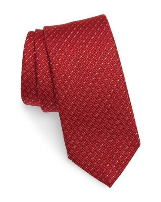 Ferragamo - Red Este Solid Silk & Cotton Tie for Men - Lyst
