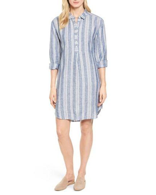 Caslon - Blue Caslon Linen Shirt Dress - Lyst