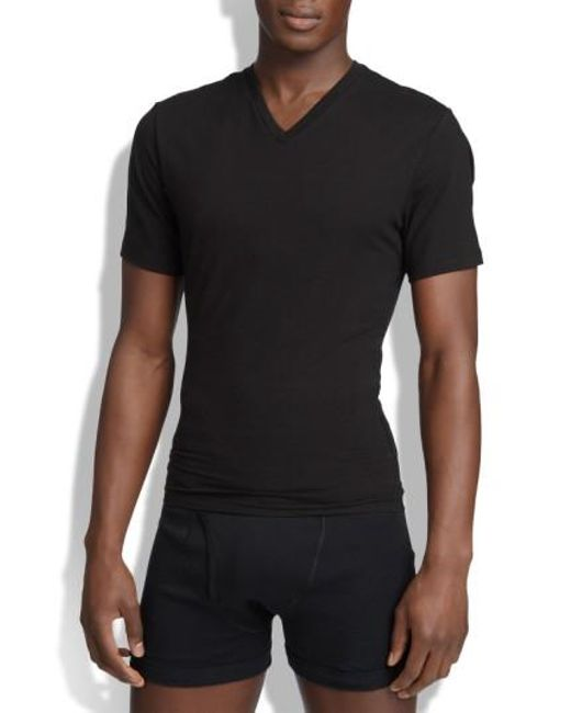 Spanx | Black Spanx V-neck Cotton Compression T-shirt for Men | Lyst