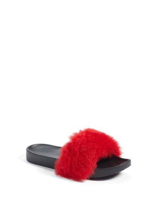 Ugg - Red Ugg Royale Genuine Shearling Slide Sandal - Lyst