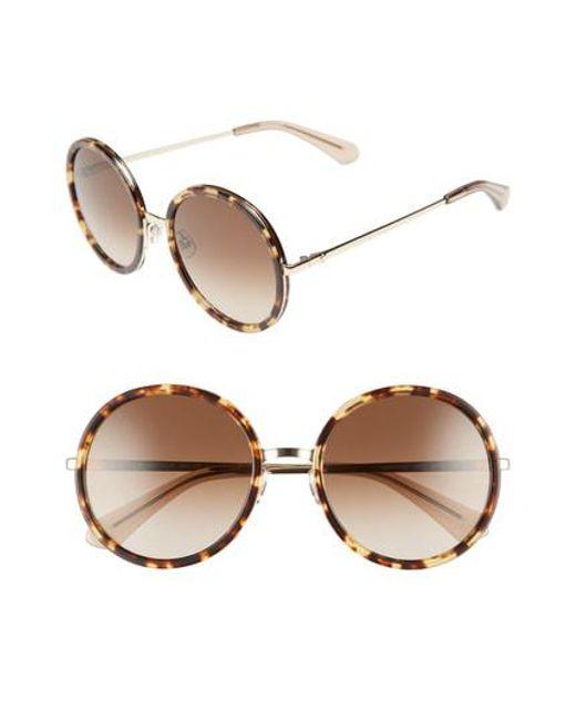 Kate Spade - Blue Lamonica 54mm Gradient Lens Round Sunglasses - - Lyst