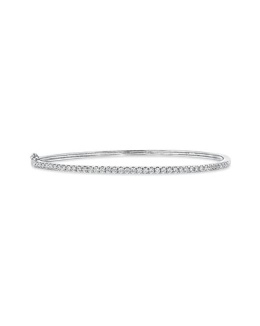 Bony Levy | White 'stackable' Large Skinny Diamond Bangle (nordstrom Exclusive) | Lyst