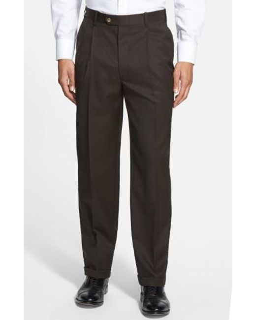 JB Britches   Brown Pleated Super 100s Worsted Wool Trousers for Men   Lyst