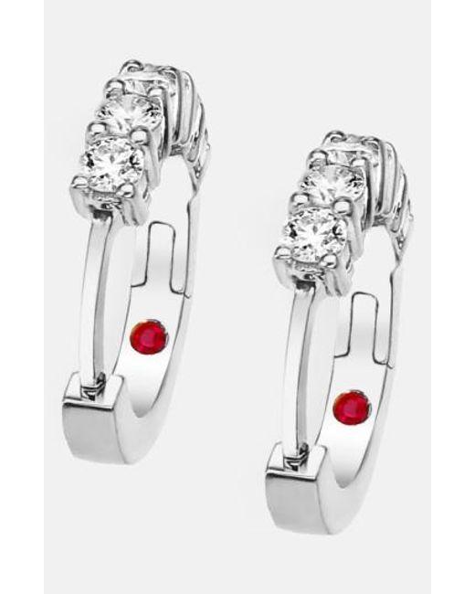 Roberto Coin | White Diamond Hoop Earrings | Lyst