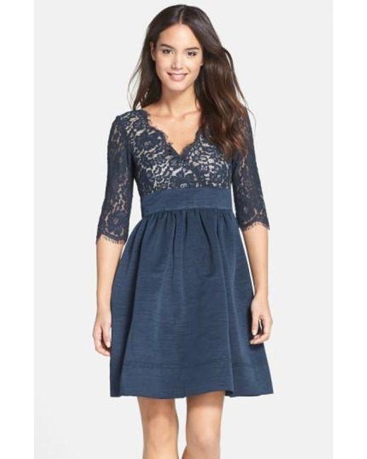 Eliza J   Blue Lace & Faille Dress   Lyst