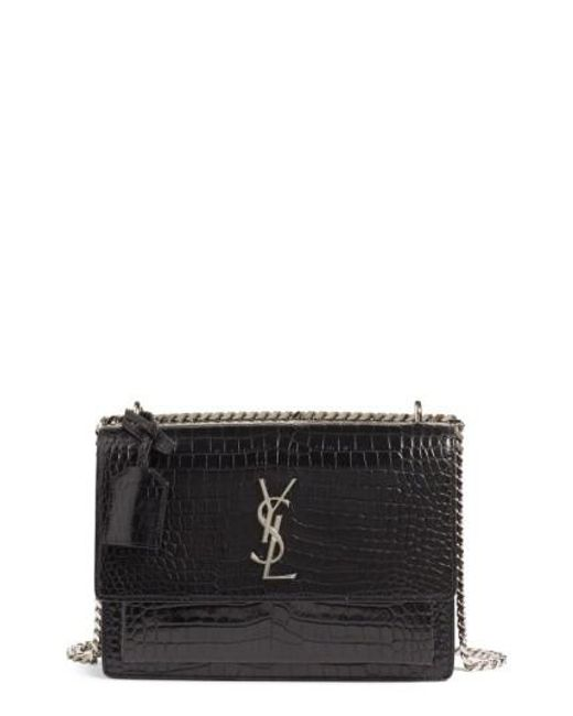Saint Laurent. Women s Black  medium Monogram Sunset  Croc Embossed Leather Shoulder  Bag c35d35c678