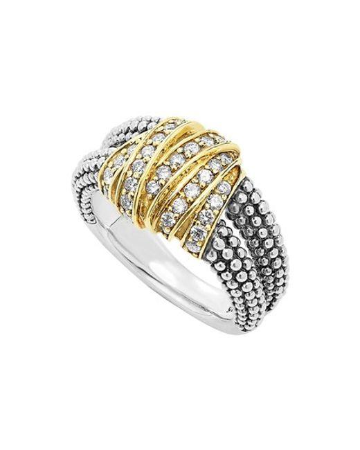 Lagos | Metallic 'diamonds & Caviar' Medium Diamond Ring | Lyst