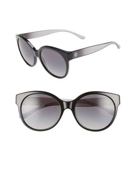 4e9914db71 Tory Burch - Gray Stacked T 55mm Round Sunglasses - Smoke Horn Gradient -  Lyst