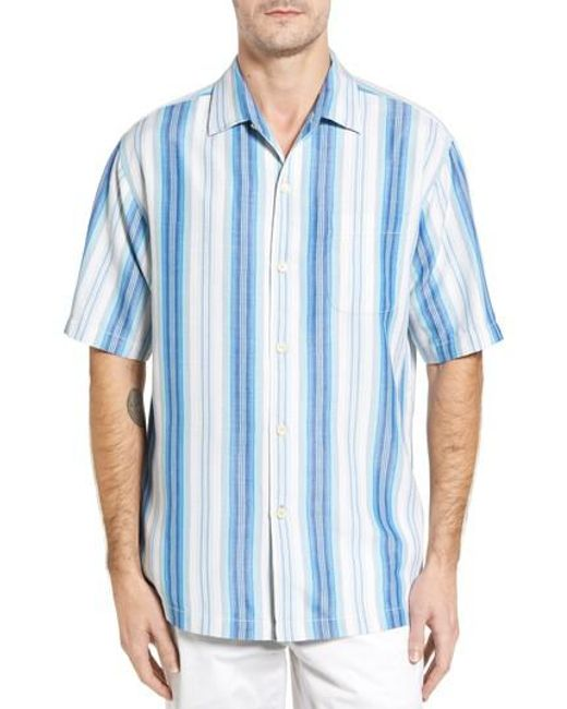 Tommy Bahama | Blue Socrates Stripe Silk Shirt for Men | Lyst