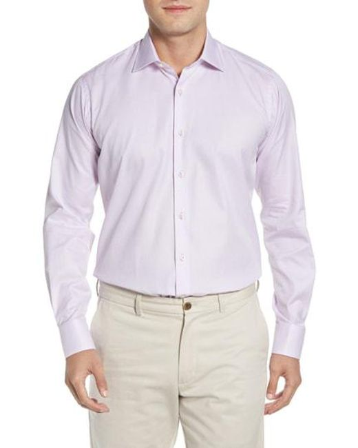 Ike Behar - Purple Regular Fit Solid Dress Shirt for Men - Lyst