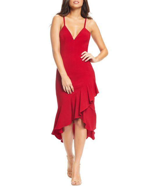959b1f6ed36 Dress the Population - Red Wendy High low Ruffle Cocktail Dress - Lyst ...