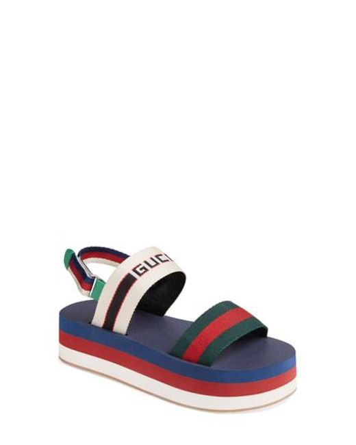 Gucci - Blue Slingback Flatform Sandal - Lyst