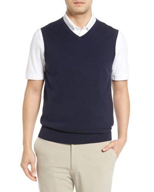 Lyst Cutter Buck Lakemont V Neck Sweater Vest In Blue For Men