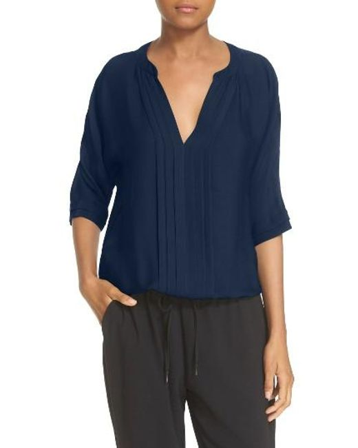 Joie | Blue 'marru' Semi-sheer Silk Blouse | Lyst