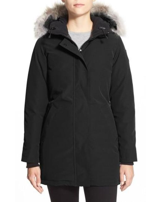 Canada Goose | Black Victoria Down Parka With Genuine Coyote Fur Trim | Lyst