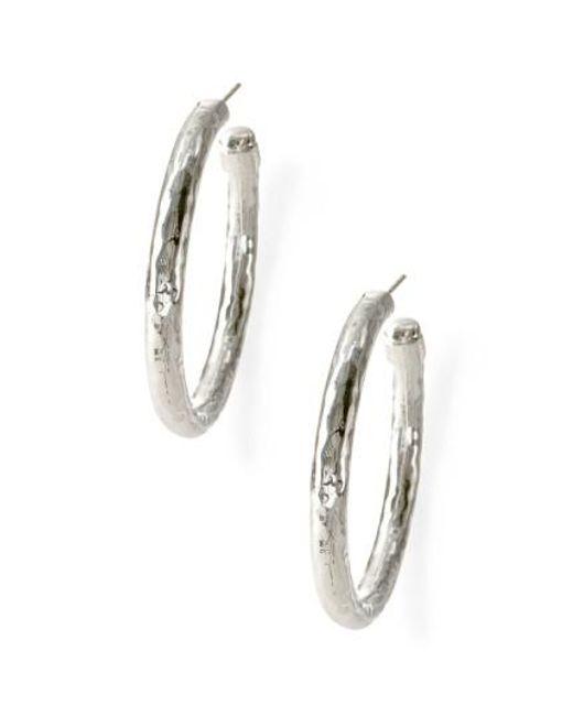 Ippolita | Metallic 'glamazon - Number 3' Skinny Hammered Hoop Earrings - Sterling Silver | Lyst
