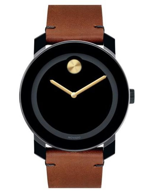 Movado - Brown 'bold' Leather Strap Watch for Men - Lyst