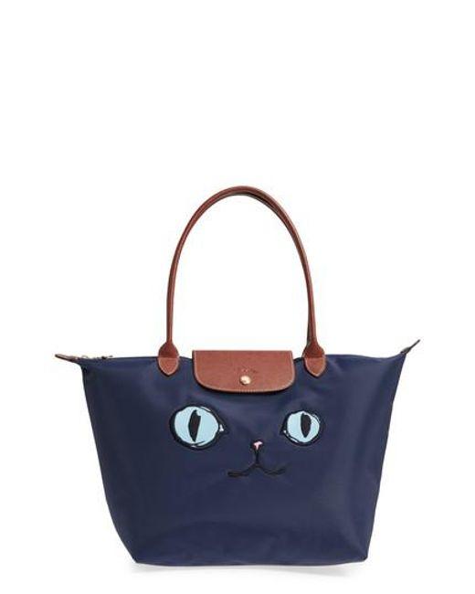 Longchamp - Blue 'large Le Pliage Miaou' Tote - Lyst