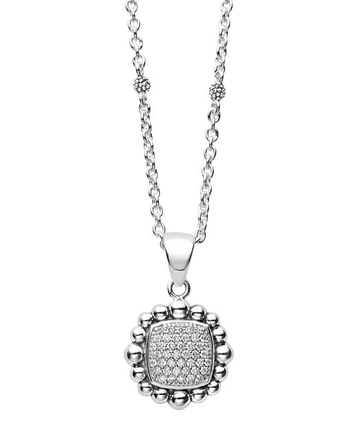 Lagos - Metallic Caviar Spark Square Diamond Pendant Necklace - Lyst
