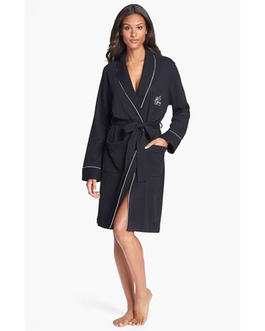 Lauren by Ralph Lauren | Black Quilted Collar Robe | Lyst