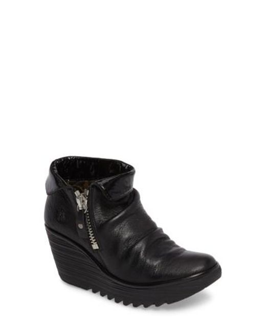 Fly London - Black Yoxi Wedge Bootie - Lyst