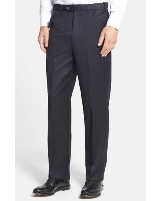 Berle | Black Self Sizer Waist Flat Front Wool Gabardine Trousers for Men | Lyst