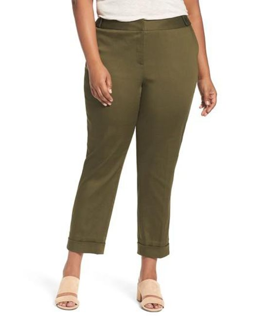 Sejour | Green Stretch Twill Ankle Pants | Lyst