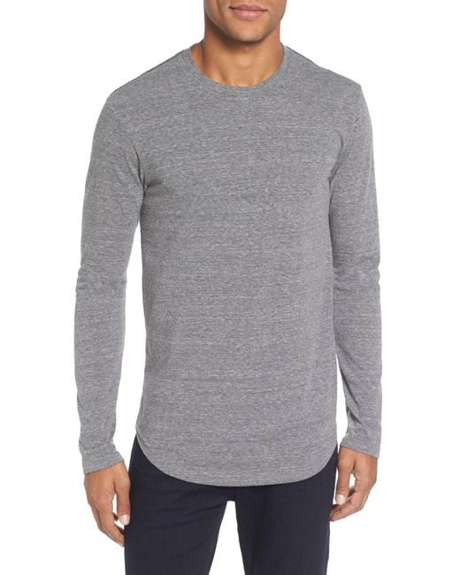 Goodlife - Gray Triblend Scallop Long Sleeve Crewneck T-shirt for Men - Lyst