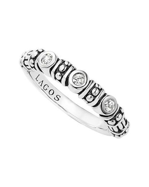 Lagos - Metallic Three Diamond Stacking Ring - Lyst