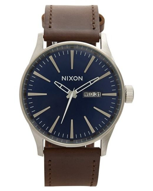 Nixon | Brown The Sentry Leather Strap Watch for Men | Lyst