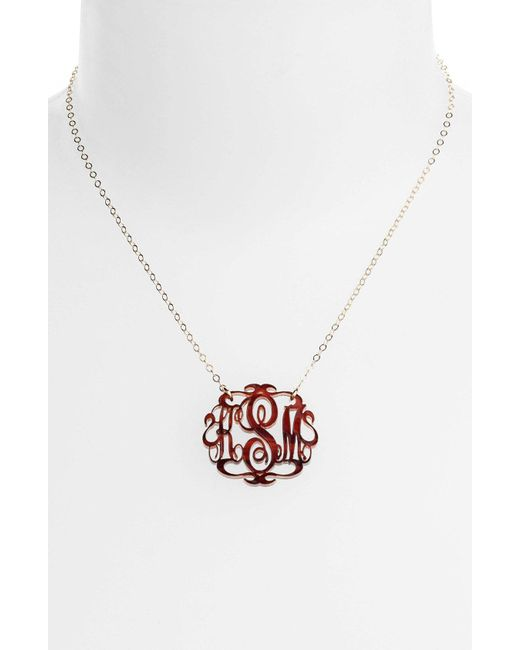 Moon & Lola - Brown Small Oval Personalized Monogram Pendant Necklace (nordstrom Exclusive) - Lyst