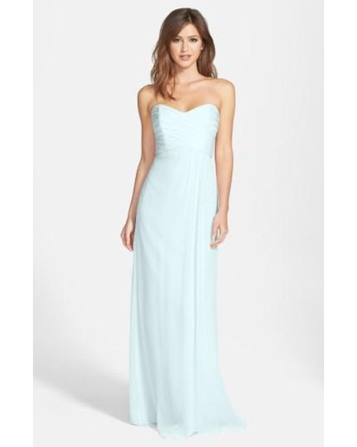 Amsale | Blue Strapless Crinkle Chiffon Gown | Lyst