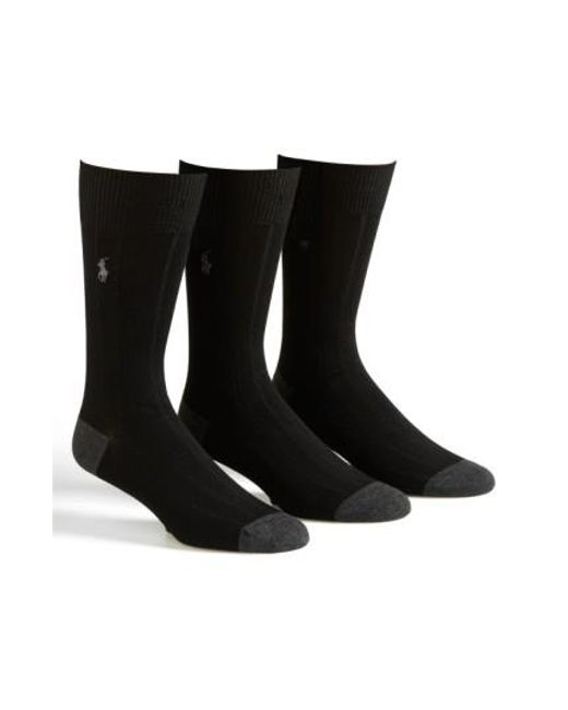 Polo Ralph Lauren | 3-pack Ribbed Socks, Black for Men | Lyst