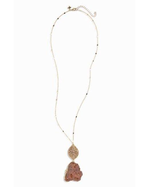 Panacea | Metallic Agate Beaded Pendant Necklace | Lyst