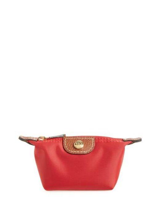 Longchamp   Red 'le Pliage' Coin Purse   Lyst