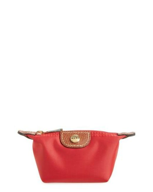 Longchamp | Red 'le Pliage' Coin Purse | Lyst