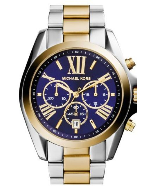 Michael Kors | Metallic Michael Kors 'bradshaw' Chronograph Bracelet Watch | Lyst