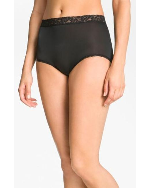 Wacoal - Black 'bodysuede' Lace Waist Briefs - Lyst