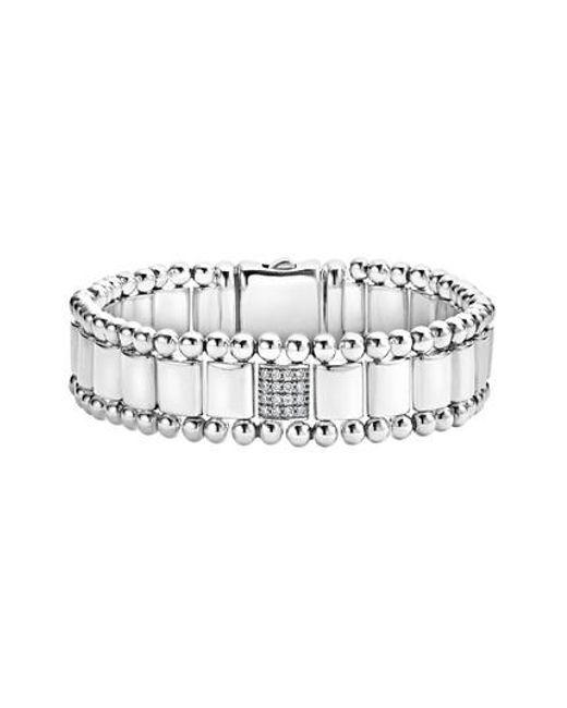 Lagos - Metallic Caviar Spark Pave Diamond Link Bracelet - Lyst