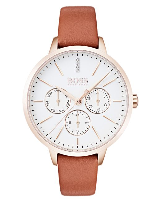 BOSS - Brown Symphony Leather Strap Watch - Lyst