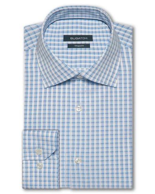 Bugatchi - Blue Trim Fit Check Dress Shirt for Men - Lyst