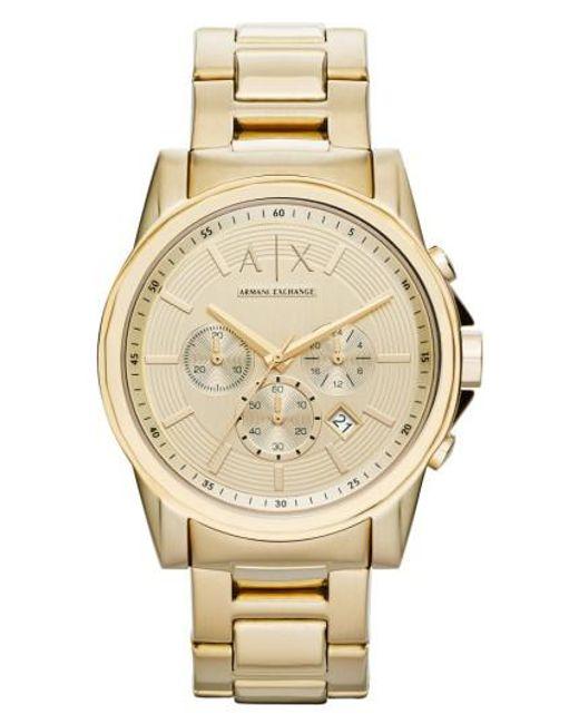 Armani Exchange   Metallic Chronograph Bracelet Watch for Men   Lyst