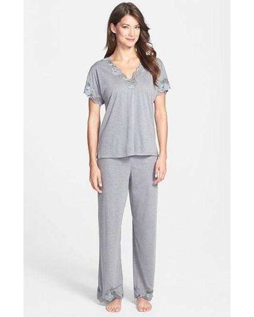 Natori | Gray 'zen Floral' Pajama Set | Lyst