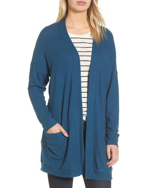 Gibson - Blue Rib Knit Cardigan - Lyst