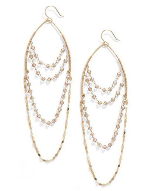 Serefina | Metallic Beaded Chandelier Drop Earrings | Lyst